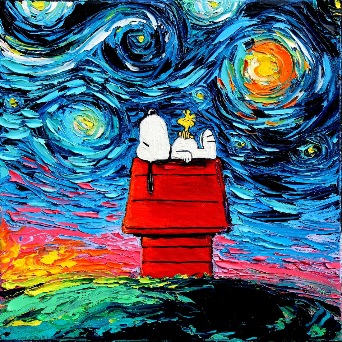 snoopy art peanuts cartoon starry night print van gogh never