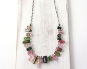 Rainbow Tourmaline Crystal Collar Necklace