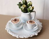 Dolls House Miniature Cappuccino Coffee Cafe Set