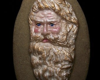 Pearl Santa Claus Face Cab Handmade polymer clay Father Christmas Cameo Cabochon