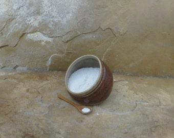 Salt Pig Cellar - Handmde Stoneware Ceramic Pottery - Albany Rust and Birch Brown - 8 ounces