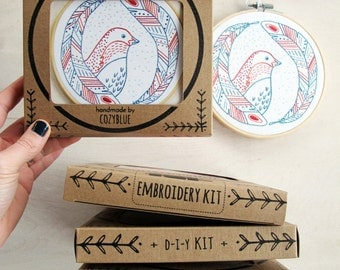 BIRD of a FEATHER embroidery kit - gift kit, embroidery kit in a box, DIY gift for crafters, hand embroidery kit by cozyblue