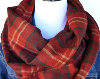 Warm and Cozy Flannel Infinity Scarf / Autumn Plaid Crimson Red  / Christmas Gift / Loop Circle Scarf