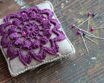 Linen  pincushion - crochet motif -- purple