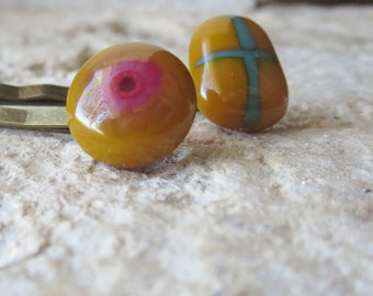 Fused Glass Bobby Pins , Hair Clips ,  Hair Accessories , Handmade Bobby Pin