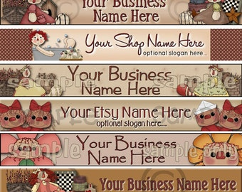 Raggedy Dreams Designs - Premade Etsy Shop Banner - SHOP ICON - Assorted Primitive Whimsical Raggedy Annies