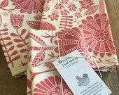 red flowers tea towel