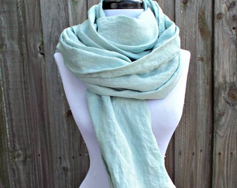 Blue Green Flax Linen Scarf with Fringe Summer Scarf Blanket Scarf Lightweight Scarf Rustic Scarf Summer Wrap Rustic Bridal Wrap Prom Wrap