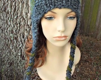 Knit Hat Womens Hat - Braided Ties Ear Flap Cat Hat in Granite Grey and Olive Green - Grey Hat Grey Beanie Womens Accessories Winter Hat