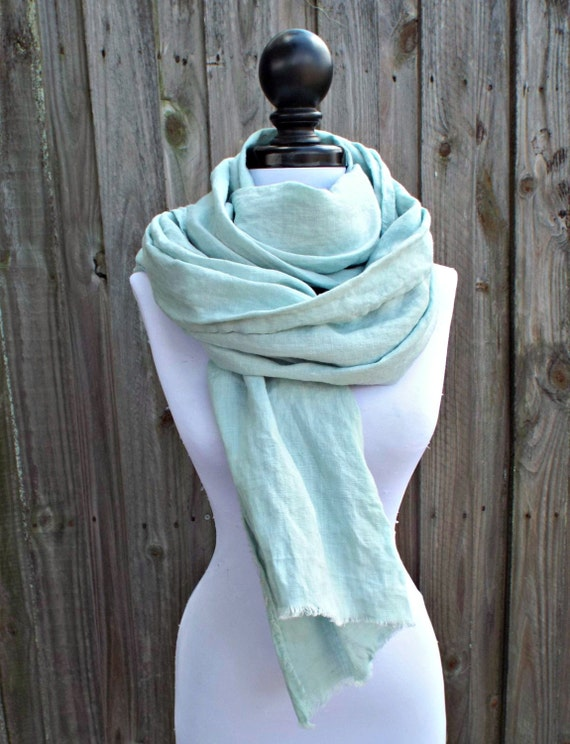 Blue Green Flax Linen Scarf With Fringe Summer Scarf By