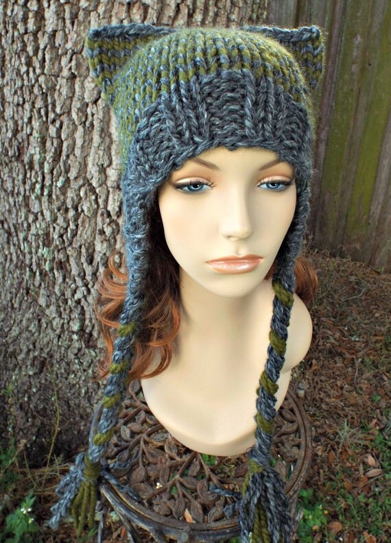 Knit Hat Womens Hat Braided Ties Ear Flap Cat Hat in Granite