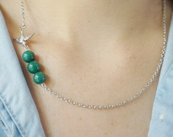 Emerald Green Necklace Bird Necklace GemStone Necklace Bridesmaid Jewelry Fall Jewelry Fall Necklace Bridesmaid Gift Swallow Necklace Gift