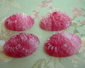 Vintage Glass Cabochons Faux Carved ROSE QUARTZ pair Floral Pressed Glass Japanese 18mm x 25mm lot of 2