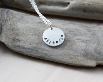 pewter circle (small) . a personalized soul mantra necklace