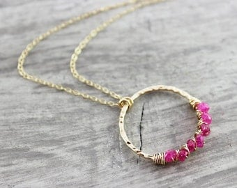 Pink Moonstone Necklace, Magenta Gemstone Necklace, Gold Filled Necklace, Circle Pendant Necklace, Wire Wrap Necklace, Rainbow Moonstone