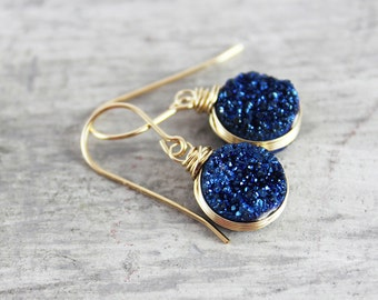Dark Blue Druzy Earrings, Gold Fill Earrings, Wire Wrap Earrings, Druzy Gemstone Earrings, Small Dangle Earrings, Drusy Quartz Earrings