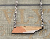 CUSTOM COLOR / Tennessee State Necklace / Heart /  Modern Jewelry