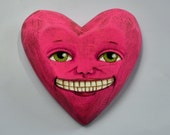 Valentine Anthropomorphic Heart Wooden Sculpture Folk Art Ornament OOAK