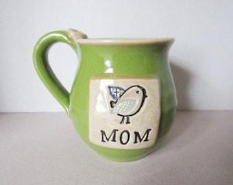 Coffee Mug, Mom mug, Mug with bird on it, Handmade Pottery