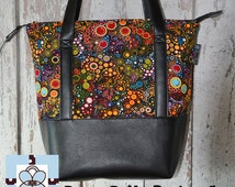 Vegan Leather Shoulder Tote Bag - Leather Tote Bag Tablet Pocket - Shoulder Bag Tablet Pocket - Happy Fabric Fabric Tote