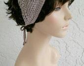 hand knit Bandana dorag kerchief, women accessories, head wrap, head scarf, headband, triangle scarf ~ gypsy spirit knit ~ taupe