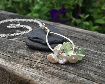 Prehnite, Keshi Pearl, Sterling Silver Pendant, Dangle Cluster, Genuine Gemstone, 16 18 20 22 24 Inch Necklace Chain, Wire Wrap Handmade