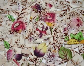 Supplies- Mosaic Tile Pieces- Vintage Pieces - Cintz Flower Pieces - Ponoma Mosaic Pieces -Transferware - Broken China Plate