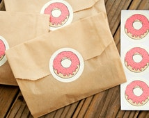 Fun Donut Stickers - Wedding Favors, Party Favor, Birthday, Shower - DONUT - 25 Stickers