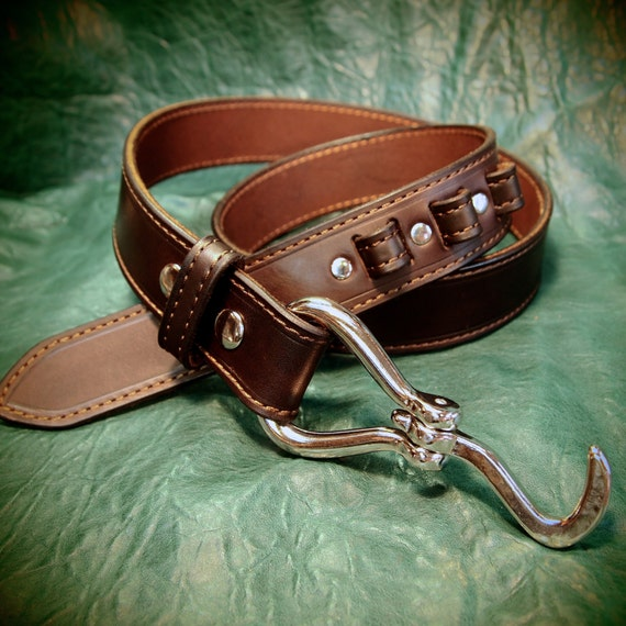 Brown Leather Horse Pick Belt Custom Made vintage look handmade for YOU in New York City by Freddie Matara