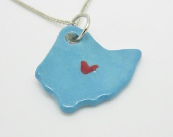 Blue Ohio Columbus Heart Necklace Glazed Ceramic on an 18 inch Silver Chain