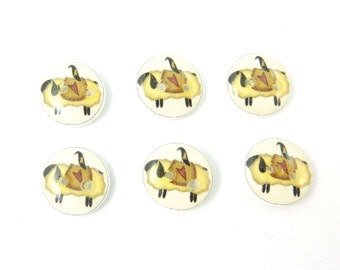 """6 SMALL  Primitive Sheep Buttons.  1/2"""" or 13 mm round.  Handmade Buttons Sheep and Crow  Novelty Buttons.  Craft Buttons."""