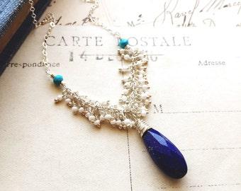 S e r e n e..Lapiz lazuli necklace, tiny pearls, sleeping beauty turquoise, chakra, healing, boho luxe sterling fringe necklace FREE