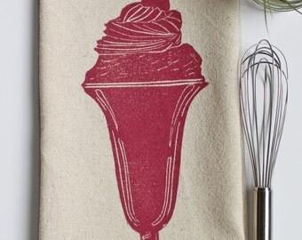 Ice Cream Sundae Block Printed Flour Sack Towel- 100% cotton towel