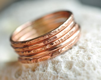 skinny Stacking Rings set of 5 - 14k ROSE gold filled - thin bands - hammered textures