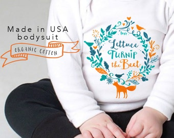 sale ORGANIC lettuce turnip the beet ® trademark brand - long sleeve bodysuit - eco friendly - cotton - forest - fox - nature