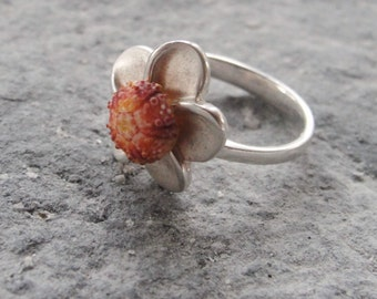 Sterling Silver Flower Ring Pink Sea Urchin Ring One of a Kind Size 6.5
