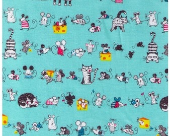 HALF YARD - Cat and Mouse - Aqua - Mice, Kitten, Cheese, Cat Butt - Cotton Oxford - Japanese Import Fabric