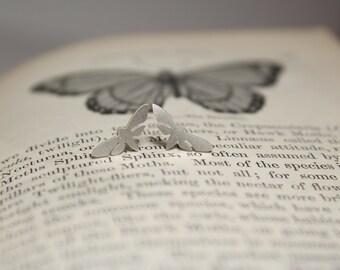 Sphinx Moth Hawk Moth Small Hand Cut Sterling Silver Stud Earrings