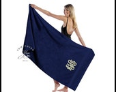 "Oversized Personalized Navy Blue Beach Towel - King Size 36"" x 65"" loop terry solid color beach towels, luxurious feel dark blue sapphire"