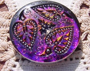 Fiery Plum Ebony Koi Pond Czech Glass Button