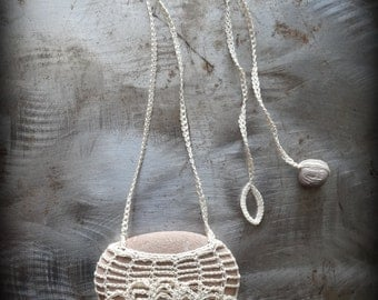 Artist Necklace, Crocheted Lace, River Stone, Ruffled, Jellyfish, Handmade, Unique, Nature, Tribal, Bohemian, Monicaj