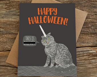 funny halloween card / unicorn cat / mature