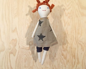Handmade Cloth Doll with hand stamped linen dress - one of a kind