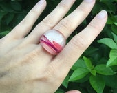 Pink Resin Ring - Feather Resin Jewellery - Magenta Peach Hippy