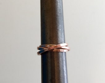 S p e c i a l t y  XI  < Rose gold-filled puzzle ring, spinner, personalized, hammered bands, polished finish, engagement ring, minimalist >
