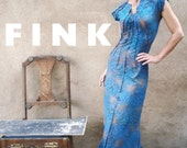 Among My Souvenirs - iheartfink Womens Handmade Maxi Dress, Unique Hand Printed Teal Wearable Art Dress, Modern Bohemian Wedding Dress