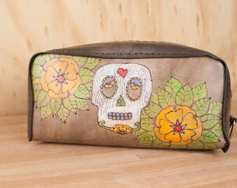 Dopp Bag - Handmade leather in the Walden Pattern - Day of the Dead Sugar Skull and Flowers - white, green, antique black