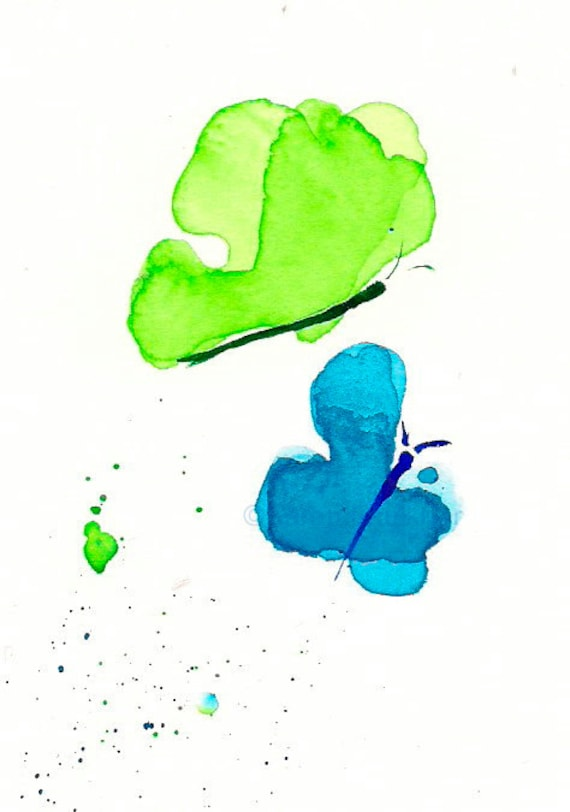 "Watercolor butterflies art print, blue and lime green: ""Butterflies"""