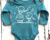 Newborn Petrol Blue Babygro vest Cupcake Monster Fight romper by Love Rocky