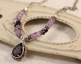 Amethyst Pendant, February Birthstone, Sterling Silver Chain, Sterling Silver Bali, Elegant Gemstone Necklace, Christmas Party NSOP